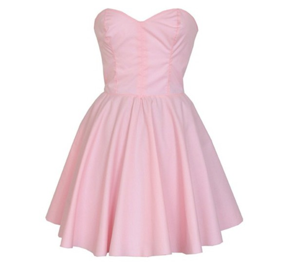 Dress: baby pink dress strapless cute, pink dress - Wheretoget