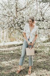love,lenore,blogger,top,jeans,jewels,bag,spring outfits,slide shoes,handbag