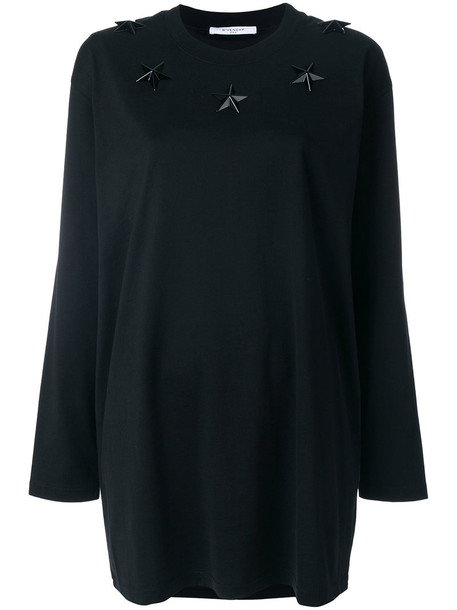 Givenchy - star studded long top - women - Cotton - S, Black, Cotton