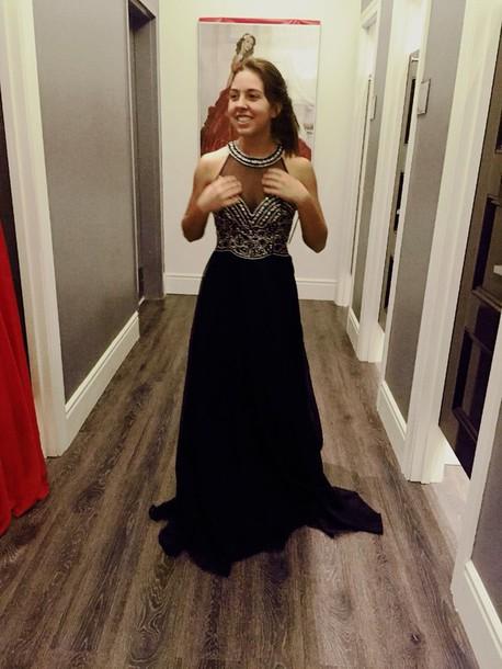 dress black dress high neck prom dress