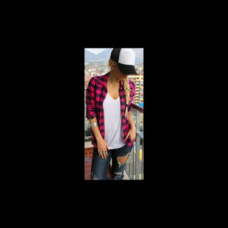 top flannel shirt hot pink and black flannel top