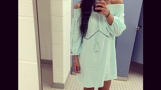 dress mint dress off the shoulder dress blue dress coachella dress