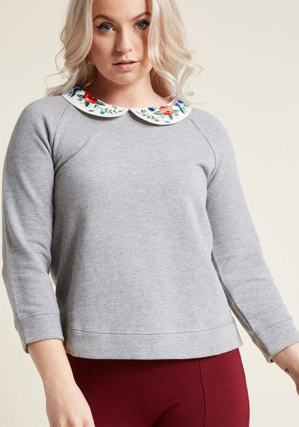Modcloth sweatshirt embroidered grey sweater