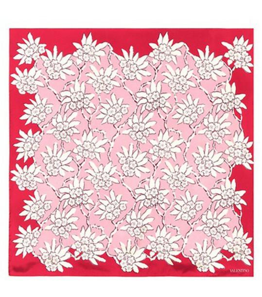 Valentino scarf silk scarf floral silk pink