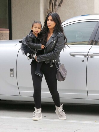 jacket biker jacket leather jacket kim kardashian sneakers shoes