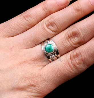 jewels ring 925 sterling silver nepal handmade malachite