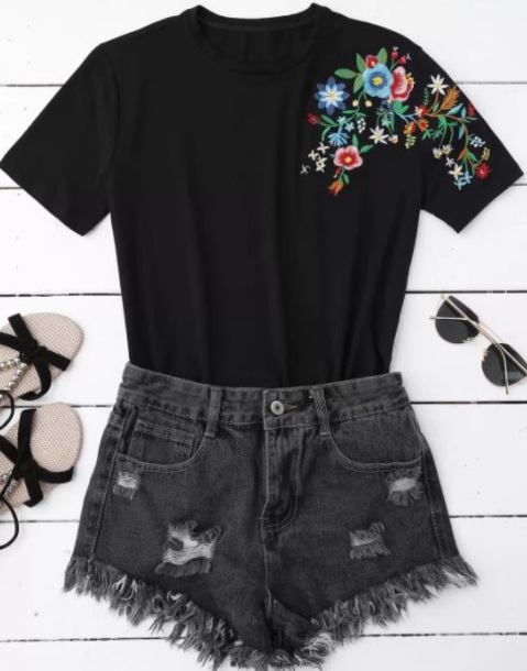 blouse embroidered girly black t-shirt flowers floral