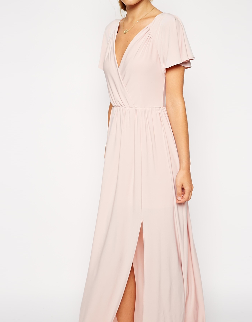 ASOS PETITE Flutter Sleeve Wrap Maxi Dress at asos.com