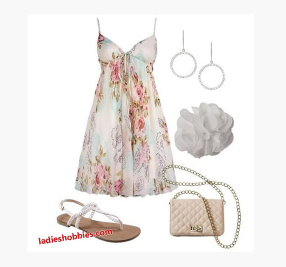 dress clothes floral summer dress outfit floral dress cute dress purse shoes short dress sleeveless dress spaghetti straps sandals flat sandles earrings cup dress v-neck dress empire dress