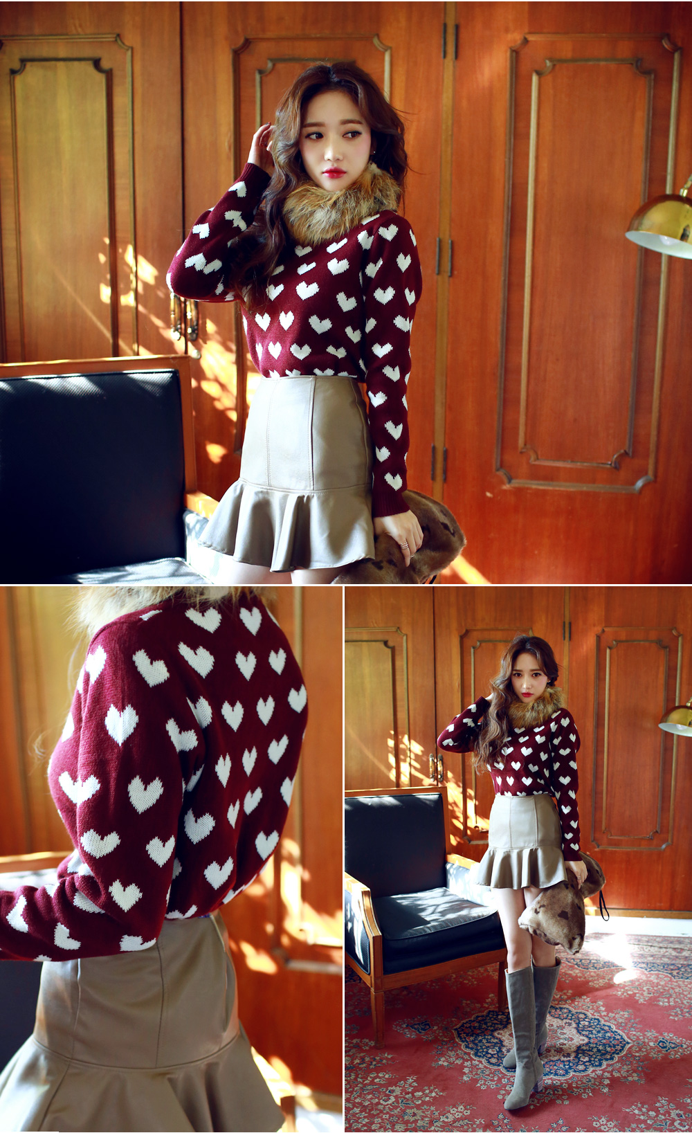 CHUU Heart Patterned Knit Pullover