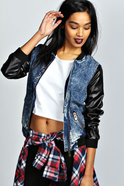 Alyssa PU Sleeve Acid Wash Bomber Jacket at boohoo.com