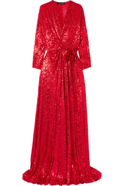 Jenny Packham gown silk velvet red dress