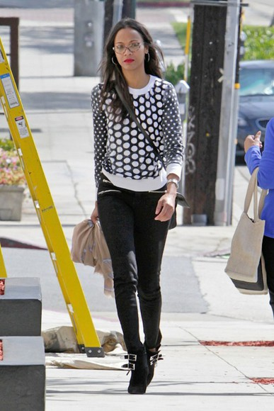 zoe saldana sweater pants