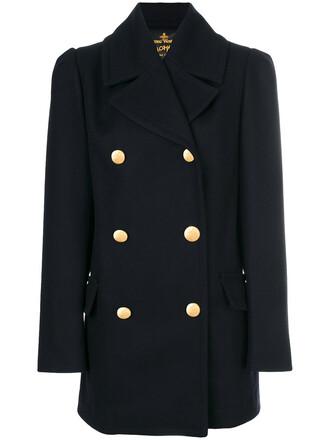 coat double breasted women cotton black wool