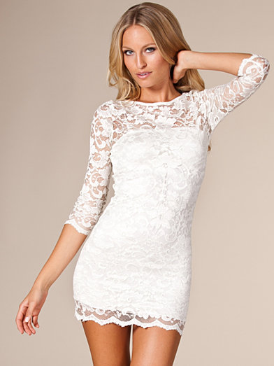 Slash Neck Lace Dress - John Zack - Cream - Party Dresses - Clothing - Women - Nelly.com