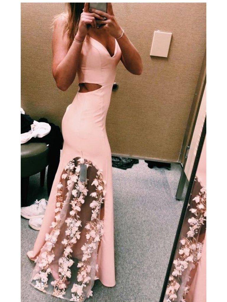 Custom Made Pink Mermaid Prom Dress with Flower, Pink Flower Formal Dresses, Graduation Dresses