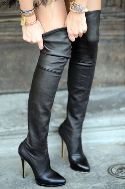 Shoes: black boots black heels knee high knee high boots over