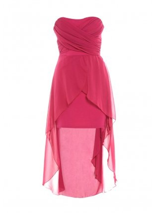 Raspberry strapless dip hem dress
