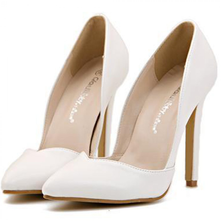 White Pointed Court Shoes