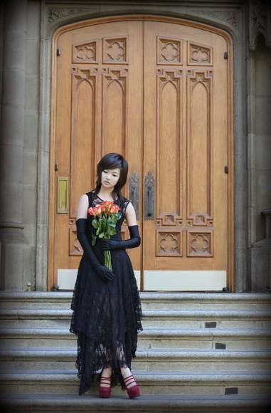 lace dress utopia underground blogger gloves witch high heels