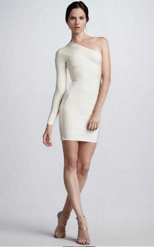 White One Shoulder Long Sleeve Dress