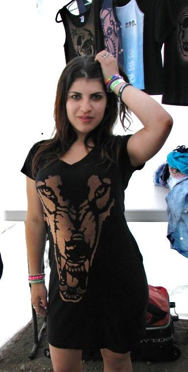 Wolf little black dress vneck tee shirt by painterproductions
