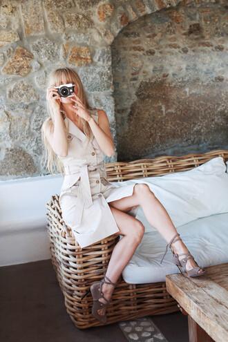 dress tumblr midi dress nude dress sleeveless sleeveless dress button up sandals sandal heels high heel sandals sunglasses