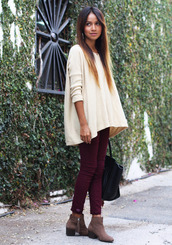 pants,jeans,wine,red,red jeans,vintage,hipster,beautiful,red pants,sweater,shoes,boots,ankle boots,booties
