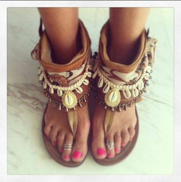 shoes flat sandals sandals, boheme, native, native style, boheme style brown sandals