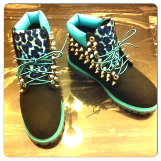 shoes leopard timberlands spikes leopard print blue sexy tims