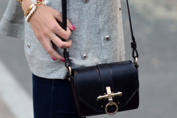bag leather bag noir