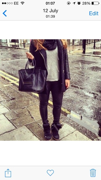black coat winter coat trendy tumblr girl skinny jeans jeans denim bag handbag black back black outfit back to school designer rain sneakers boots trainers leather look grey top like long hair brunette skinny jeans bottoms jeans denim denim shirt raincoat