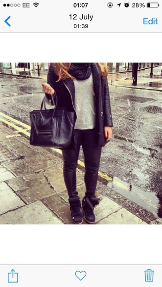 jeans grey top brunette sneakers bag black coat winter coat trendy tumblr girl skinny jeans denim handbag black back black outfit back to school designer rain boots trainers leather look like long hair skinny jeans bottoms jeans denim denim shirt raincoat