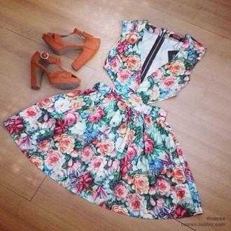 dress skater dress colorful flower trendy floral dress