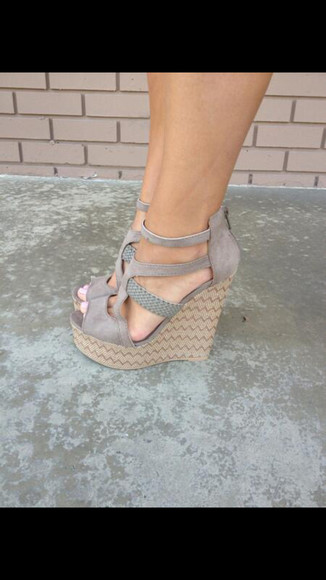 shoes wedges gray heels