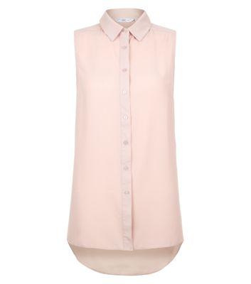 Shell Pink Dip Hem Sleeveless Shirt