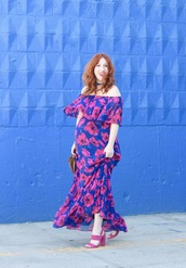 tf diaries,blogger,dress,shoes,bag,off the shoulder dress,maxi dress,floral dress,sandals,high heel sandals,pink shoes