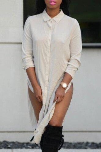 dress sexy blouse white fashion style casual slit dress collar