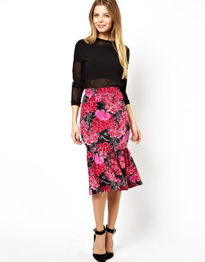 ASOS | ASOS Pencil Skirt in Floral Print with Peplum Hem at ASOS