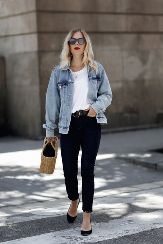 jacket blue jacket tumblr denim denim jacket t-shirt white t-shirt jeans flats bag woven bag sunglasses shoes pants work outfits office outfits