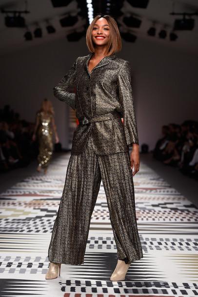 jacket pants wide-leg pants jourdan dunn fashion week 2015