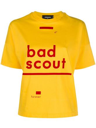 t-shirt shirt women cotton yellow orange top