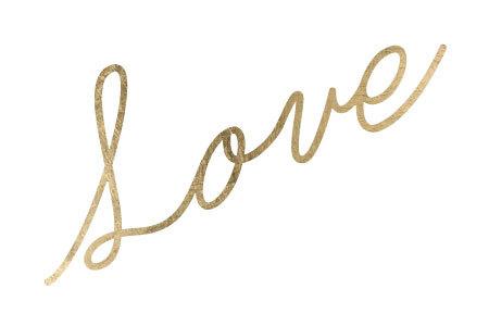 Gold love script fashion tattoo
