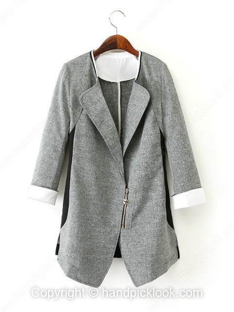 Grey Contrast Lapel Long Sleeve Blazer - HandpickLook.com