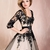 Knee Length Ball Gown Scoop Neckline with Long Sleeves Lace Prom Dress PD11084