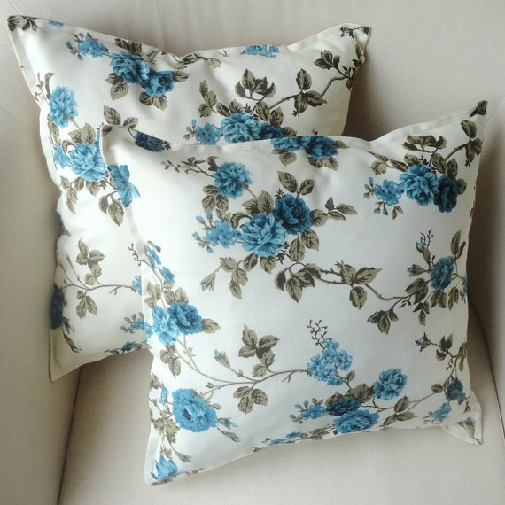 Blue floral sofa pillow cover 16x16 inchdecorative by snohome for Blue floral sofa covers
