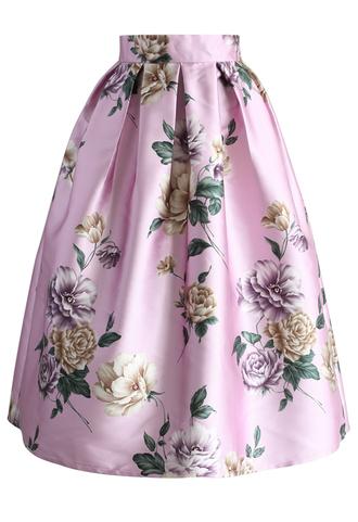 skirt la pretty en roses pleated midi skirt chicwish midi skirt pleated skirt printed skirt floral skirt pink skirt
