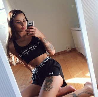 top on point clothing crop tops black all black everything graphic crop tops quote on it shorts tattoo tattooed girl tattooed tumblr cool girl dope swag gorgeous women edgy casual style black top black shorts