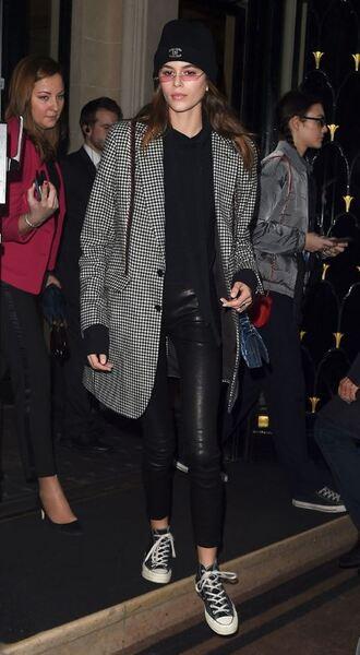 jacket hoodie sneakers pants beanie streetstyle model off-duty kaia gerber fashion week 2018 paris fashion week 2018 plaid sweater