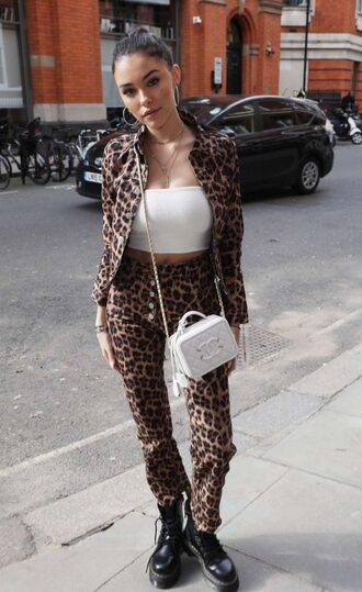 pants animal print madison beer streetstyle spring outfits top crop tops purse leopard print jacket